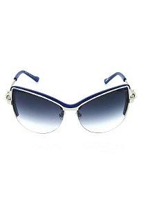 Óculos de Sol Gatinho Mascara Prorider Prata com Azul Escuro Lente Degrade