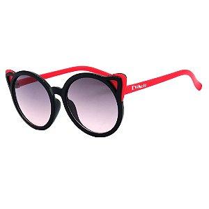 Óculos de Sol Infantil em Grilamid® TR-90 Eva Solo Redondo Preto com Vermelho