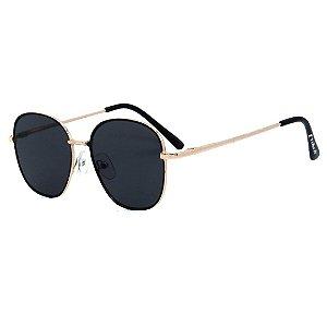 Óculos de Sol Infantil Eva Solo Redondo Dourado e Preto