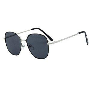 Óculos de Sol Infantil Eva Solo Redondo Prata e Preto