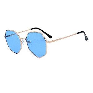 Óculos de Sol Infantil Eva Solo Geométrico Dourado e Preto
