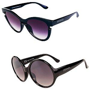 Kit de 2 Óculos de Sol Femininos Titânia Casual Preto