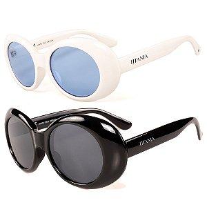 Kit de 2 Óculos de Sol Femininos Titânia Clássico Branco e Preto