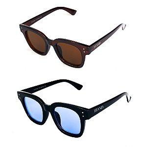 Kit de 2 Óculos de Sol Feminino Titânia Quadrado Marrom e Preto