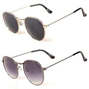 Kit de 2 Óculos de Sol Feminino Titânia Redondo Dourado e Grafite