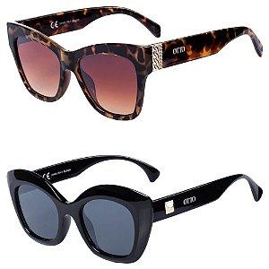 Kit de 2 Óculos de Sol Feminino OTTO Gatinho Animal Print e Preto