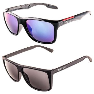 Kit de 2 Óculos de Sol Masculinos Voor Vert Espelhado Azul e Preto Fosco