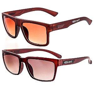 Kit de 2 Óculos de Sol Masculinos Voor Vert Marrom