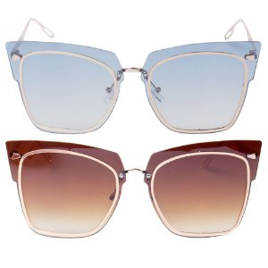 Kit de 2 Óculos de Sol Femininos OTTO Dourado e Azul e Dourado e Marrom