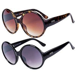 Kit de 2 Óculos de Sol Femininos OTTO Animal Print e Preto