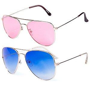 Kit de 2 Óculos de Sol Femininos OTTO Aviadores Azul e Rosa