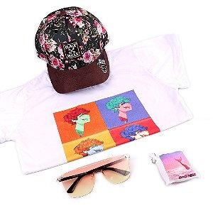 Kit de Aniversario Muze Shop Feminino - Boné - Óculos de Sol - Camiseta - Chaveiro
