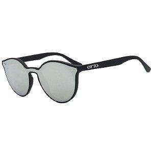 Óculos de Sol OTTO em Grilamid® TR-90 Redondo Preto Fosco com Lente Espelhada