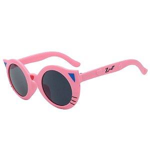 Óculos de Sol Infantil Z-JIM Redondo Gatinho Rosa Claro
