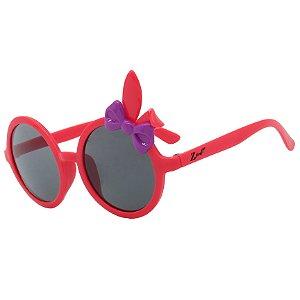 Óculos de Sol Infantil Z-JIM Redondo Coelho Vermelho e Laço Roxo