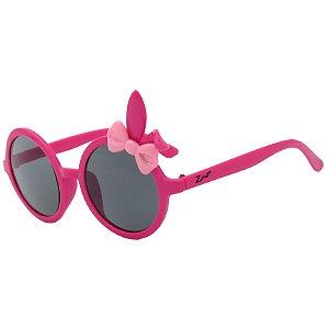 Óculos de Sol Infantil Z-JIM Redondo Coelho Roxo e Laço Rosa Claro
