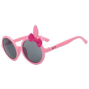 Óculos de Sol Infantil Z-JIM Redondo Coelho Rosa Claro e Laço Rosa Escuro