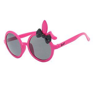 Óculos de Sol Infantil Z-JIM Redondo Coelho Rosa Chiclete e Laço Preto