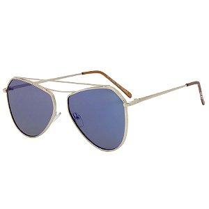 Óculos de Sol OTTO em Metal Monel® Aviador Dourado e Espelhado Azul