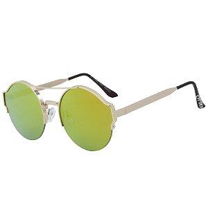 Óculos de Sol OTTO em Metal Monel® Redondo Dourado e Espelhado Dourado