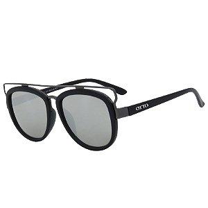 Óculos de Sol OTTO Preto Fosco e Espelhado Prata