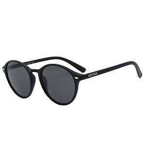 Óculos de Sol OTTO em Grilamid® TR-90 Redondo Marrom Fosco Emborrachado
