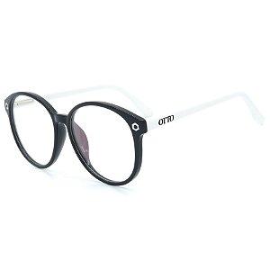 Óculos de Grau OTTO em Grilamid® TR-90 Redondo Preto e Branco