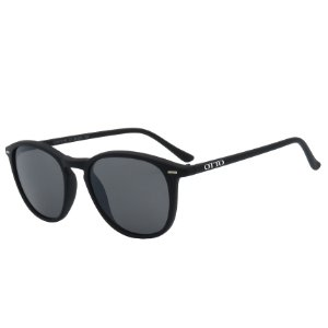 Óculos de Sol OTTO em Grilamid® TR-90 Redondo Preto Fosco Emborrachado