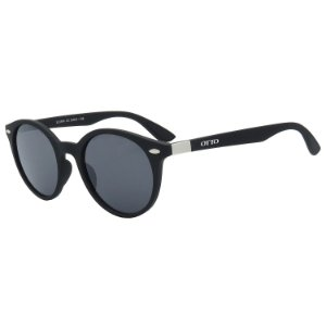 Óculos de Sol OTTO em Grilamid® TR-90 Redondo Preto Fosco LL3101-3