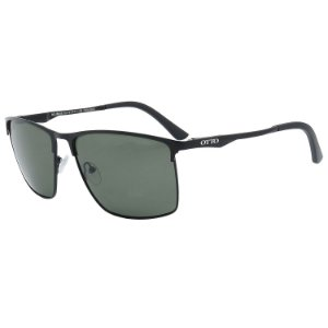 Óculos de Sol Polarizado OTTO em Metal Monel® Quadrado Preto