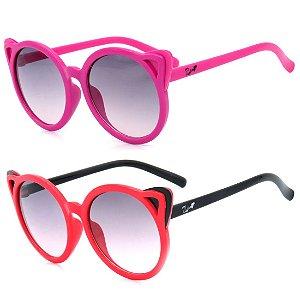 Kit de 2 Óculos de Sol Infantil Zjim Gatinho Redondo Pink e Vermelho