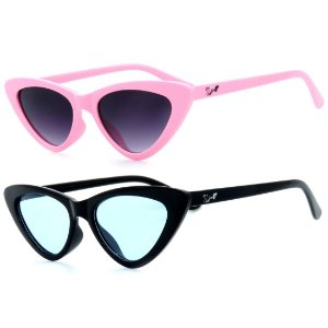 Kit de 2 Óculos de Sol Infantil Zjim Gatinho Redondo Rosa e Preto