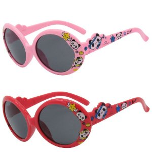 Kit de 2 Óculos de Sol Infantil Zjim Redondo Rosa e Vermelho
