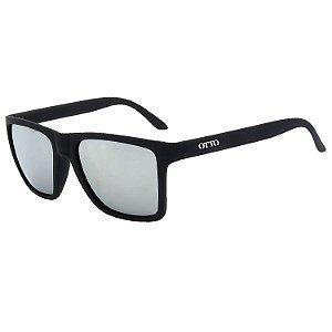 Óculos de Sol OTTO em Grilamid® TR-90 Quadrado Preto Fosco Espelhado Prata