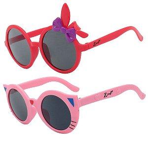 Kit de 2 Óculos de Sol Infantil Zjim Gatinho Redondo Vermelho e Rosa