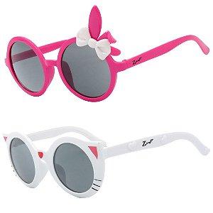 Kit de 2 Óculos de Sol Infantil Zjim Gatinho Redondo Rosa e Branco