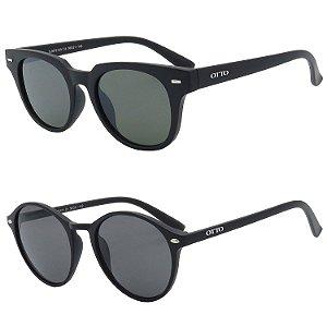 Kit 2 Óculos de Sol OTTO em Grilamid® TR-90 Quadrado e Redondo Preto Fosco