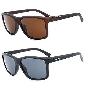 Kit 2 Óculos de Sol OTTO em Grilamid® TR-90 Quadrado Marrom e Preto Fosco