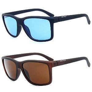 Kit 2 Óculos de Sol OTTO em Grilamid® TR-90 Quadrado Azul e Marrom Fosco