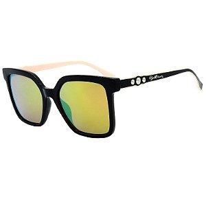 Óculos de Sol BellClover em Grilamid® TR-90 Quadrado Preto e Rosa e Espelhado