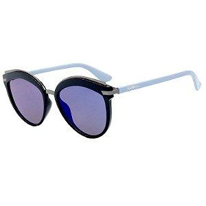 Óculos de Sol BellClover® em Grilamid® TR-90 Gatinho Preto e Espelhado Azul