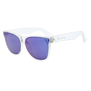 Óculos de Sol BellClover® em Grilamid® TR-90 Quadrado Translúcido e Espelhado