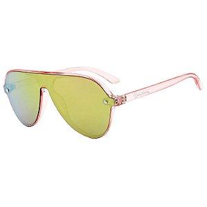 Óculos de Sol BellClover® em Grilamid® TR-90 Aviador Rosa Translúcido e Espelhado
