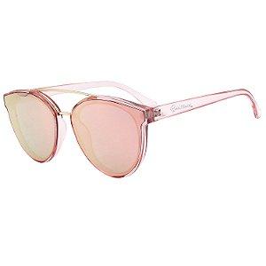 Óculos de Sol BellClover® em Grilamid® TR-90 Redondo Rosa e Espelhado