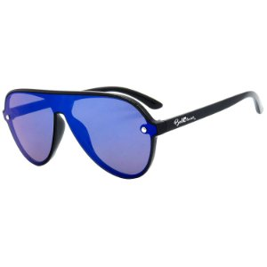 Óculos de Sol BellClover® em Grilamid® TR-90 Aviador Preto Espelhado
