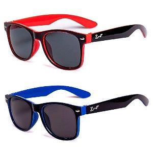 Kit de 2 Óculos de Sol Infantil Zjim Quadrado Vermelho e Azul