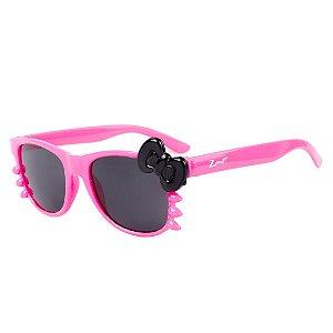 Óculos de Sol Infantil Z-JIM Quadrado Gatinho Pink e Laço Preto