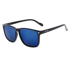 Óculos de Sol OTTO em Grilamid® TR-90 Quadrado Espelhado Azul Preto Fosco