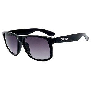 Óculos de Sol OTTO em Grilamid® TR-90 Quadrado Preto Lente Roxa Degradê