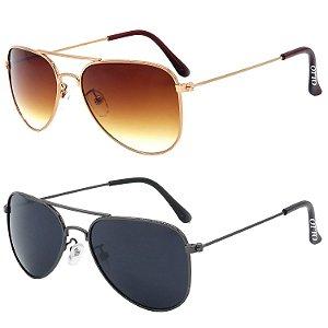 Kit de 2 Óculos de Sol Clássicos OTTO em Metal Monel® Aviador Rosê / Grafite
